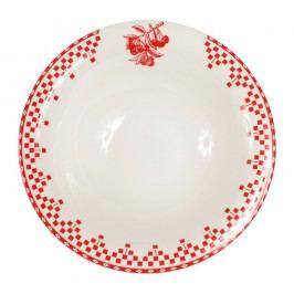 Červenobílý talíř Comptoir de Famille Damier, 20 cm