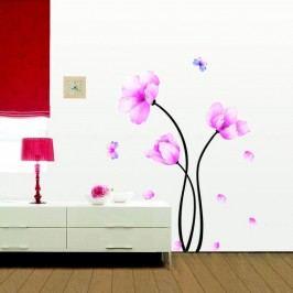 Sada samolepek Ambiance Pink Flowers And Butterflies Tapety análepky