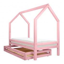 Set růžové zásuvky a 4 přídavných nohou k posteli Benlemi Funny, 80x200cm