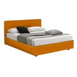 Oranžová dvoulůžková postel s úložným prostorem 13Casa Ninfea, 160x190cm