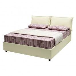 Béžová dvoulůžková postel s úložným prostorem a potahem z koženky 13Casa Rose, 160x190cm