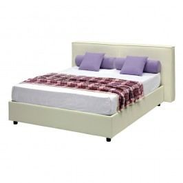 Béžová dvoulůžková postel s úložným prostorem a potahem z koženky 13Casa Melita, 160x190cm