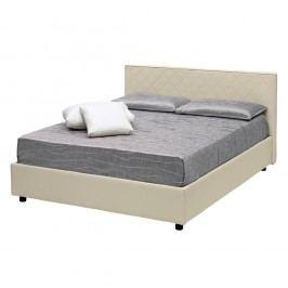 Béžová dvoulůžková postel s úložným prostorem a potahem z koženky 13Casa Trilogy, 160x190cm