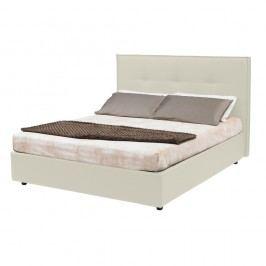 Béžová dvoulůžková postel s úložným prostorem a potahem z koženky 13Casa Zeus, 160x190cm