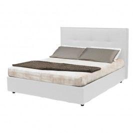 Bílá dvoulůžková postel s úložným prostorem a potahem z koženky 13Casa Zeus, 160x190cm