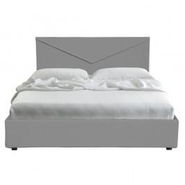 Šedá dvoulůžková postel s úložným prostorem a potahem z koženky 13Casa Mina, 160x190cm