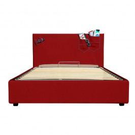Červená jednolůžková postel s úložným prostorem 13Casa Task, 120x190cm