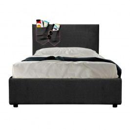 Černá jednolůžková postel s úložným prostorem a matrací 13Casa Task, 80x190cm