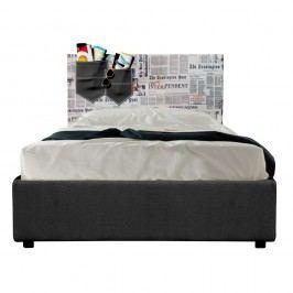 Černo-šedá jednolůžková postel s úložným prostorem a matrací 13Casa Task, 80x190cm