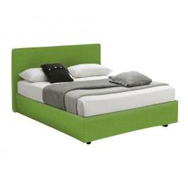 Zelená jednolůžková postel s úložným prostorem a matrací 13Casa Ninfea, 120x190cm