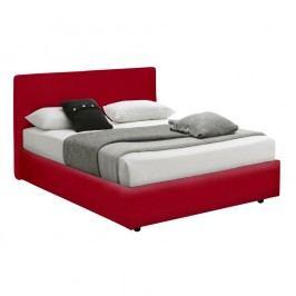 Červená postel s úložným prostorem, matrací a potahem z koženky 13Casa Ninfea, 160x190cm