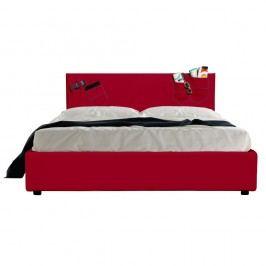 Červená dvoulůžková postel s úložným prostorem a matrací 13Casa Task, 160x200cm