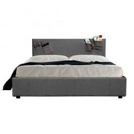 Šedá dvoulůžková postel s úložným prostorem a matrací 13Casa Task, 160x200cm