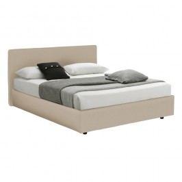 Krémová dvoulůžková postel s úložným prostorem a matrací 13Casa Ninfea, 160x200cm
