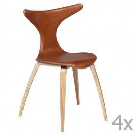 Sada 4 hnědých kožených jídelních židlí s přírodním podnožím DAN– FORM Dolphin