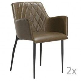 Sada 2 hnědozelených  jídelních židlí s područkami DAN– FORM Rombo Faux