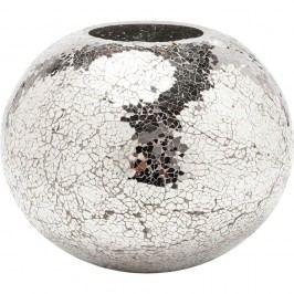 Váza ve stříbrné barvě Kare Design Mosaix Disco, 21cm