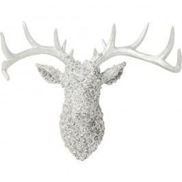 Světle šedá dekorace Kare Design Deco Antler Deer Chrome