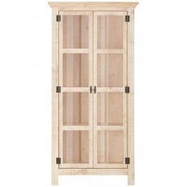 Krémová dvoudveřová vitrína z masivního borovicového dřeva Støraa Marilyn