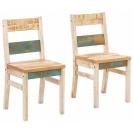 Sada 2 krémovo-tyrkysových jídelních židlí z masivního borovicového dřeva Støraa Marilyn