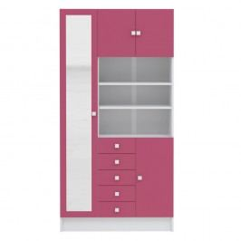 Růžová koupelnová skříňka TemaHome Combi,šířka90cm