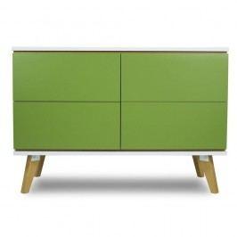 Komoda v dekoru dřeva se 4 zásuvkami a zelenými detaily SKANDICA Jorgen