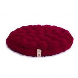 Cyklamenově růžový sedací polštářek s masážními míčky Linda Vrňáková Bloom, Ø65cm