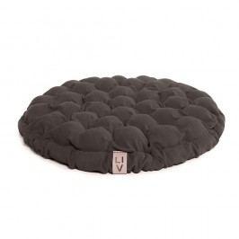 Hnědošedý sedací polštářek s masážními míčky Linda Vrňáková Bloom, Ø65cm