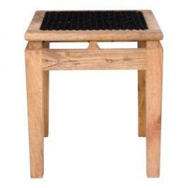 Stolička  z mangového dřeva s černým sedákem House Nordic Leh