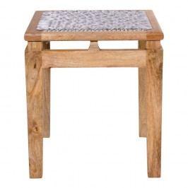 Stolička z mangového dřeva se světle šedým sedákem House Nordic