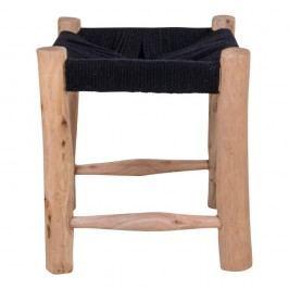 Stolička  z mangového dřeva s černým sedákem House Nordic Patna