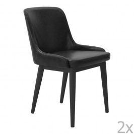 Sada 2 černých kožených jídelních židlí RGE Edgar
