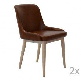 Sada 2 hnědých kožených jídelních židlí RGE Edgar