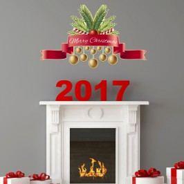 Vánoční samolepka Ambiance Merry Christmas Golden Decoballs