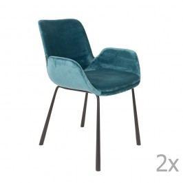 Sada 2 modrých židlí s područkami Zuiver Brit