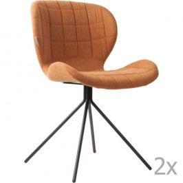Sada 2 hnědých židlí Zuiver OMG