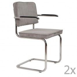 Sada 2 světle šedých židlí s područkami Zuiver Ridge Rib