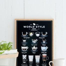 Černý plakát Follygraph World Style Coffee, 30x40cm
