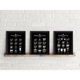 Sada 3 plakátů Follygraph Coffee Prints, 30x40cm Obrazy, rámy atabule