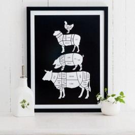 Černý plakát Follygraph Meat Cuts, 21x30cm Obrazy, rámy atabule