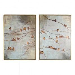 Sada 2 ručně malovaných obrazů Graham & Brown Birds Obrazy, rámy atabule
