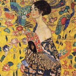 Reprodukce obrazu Gustav Klimt Lady With Fan, 40x40cm Obrazy, rámy atabule