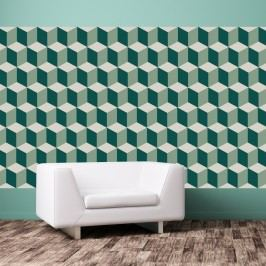 Sada 12 samolepek na zeď Walplus Green 3D Cubes Wall Mural