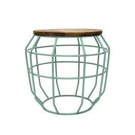 Mentolově zelený příruční stolek s deskou z mangového dřeva LABEL51 Pixel, Ø51 cm