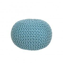 Tyrkysový pletený puf LABEL51 Knitted, ⌀ 50 cm