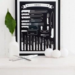 Černý plakát Follygraph Knives, 30x40cm