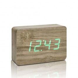 Světle hnědý budík se zeleným LED displejem Gingko Brick Click Clock