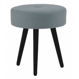 Šedá kulatá dubová stolička s černými nohami Folke Hermod