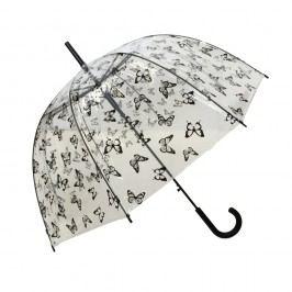Transparentní holový deštník Ambiance Butterflies, ⌀83cm