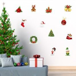 Sada 12 vánočních samolepek Ambiance Christmas wall